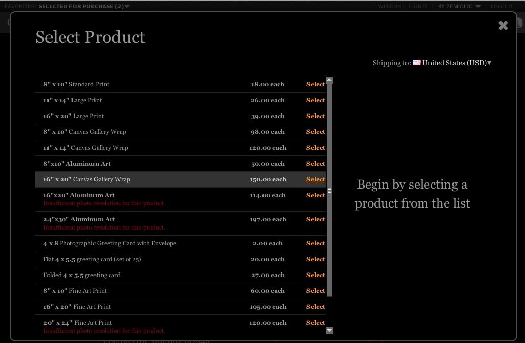 Select Product Dialog List